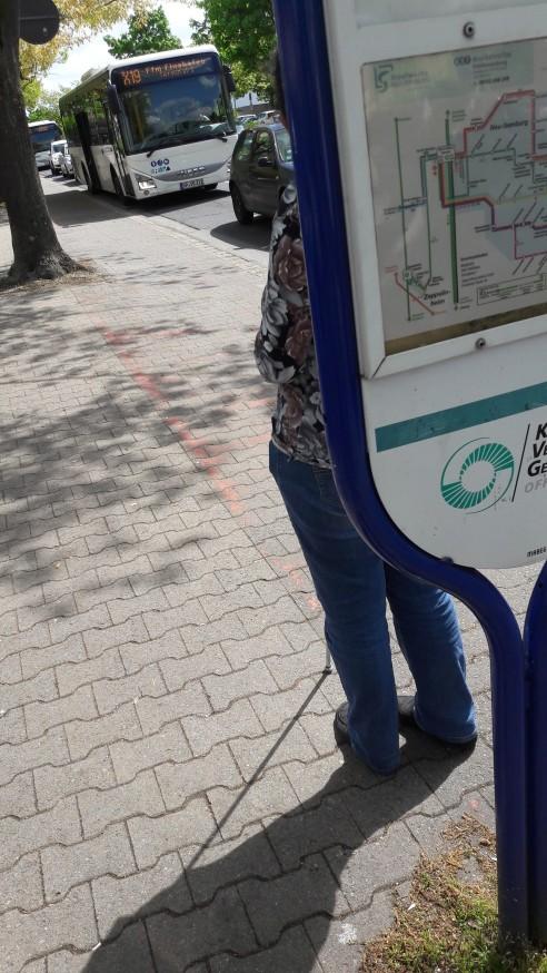 20170509_115509 Lydia an der bushaltestelle, Bus weit hinten