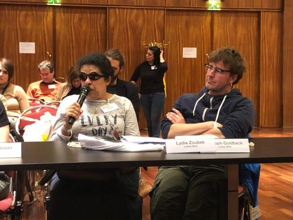 Grimme-Lydia bei der Vorstellung Ihres Blogs im Gespräch